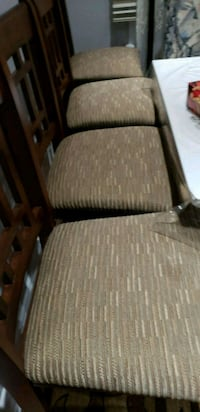 brown wooden framed gray padded armchair Toronto, M1R 4T1
