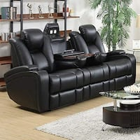 Delange Reclining Power Sofa with Adjustable Headrests and Storage in Armrests Black New in the original packing  Missouri City