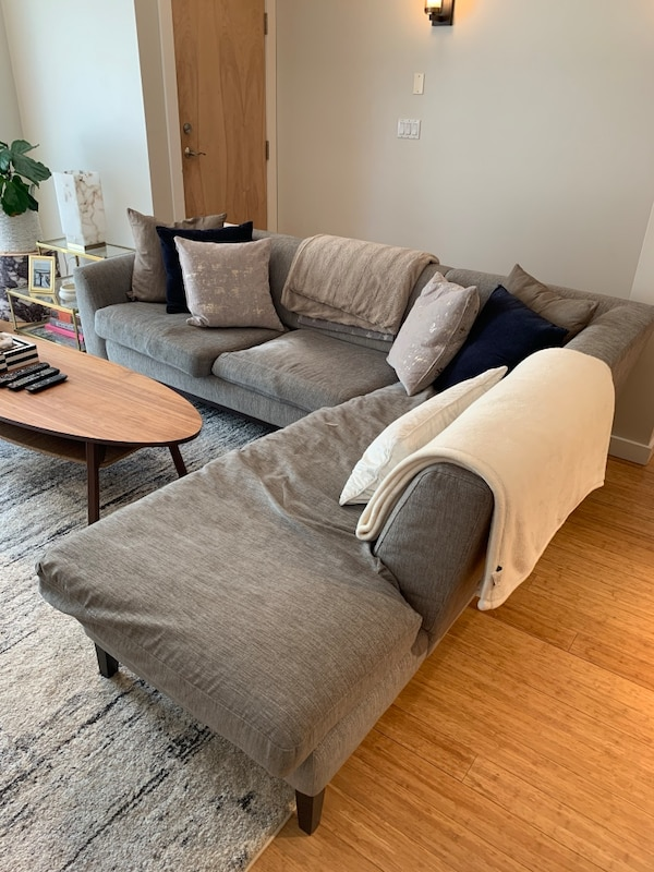 Grey modern sectional couch 1