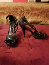 pair of black leather open toe ankle strap heels Silver Spring, 20904