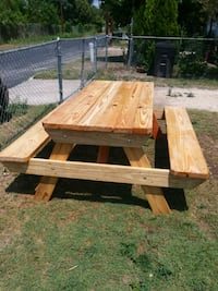 brown wooden picnic table with bench San Antonio, 78223