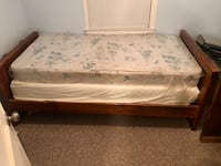 Twin Size Wood Bed w/ Box Spring and Mattress Temple Hills