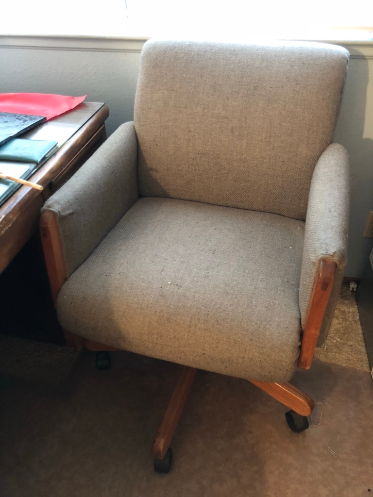 used brown wooden framed gray padded armchair for sale in san jose rh gb letgo com