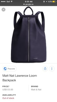 Brand new matt nat backpack Lawrence loom tags attached  Burnaby, V5J