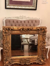 REDUCED !!!!!!! LARGE ROCOCO GUILT ANTIQUE SOLID WOOD ORNATE BEVELED MIRROR Missouri City, 77459