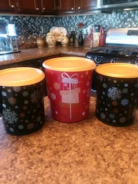three red-and-black ceramic canisters El Paso, 79928