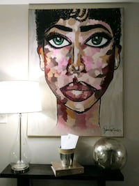 Large Abstract Face Canvas Black Acrylic Painting Charlotte, 28269