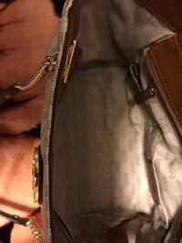 Michael Kors Brown and white leather bag