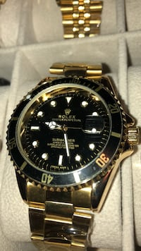 round black Rolex analog watch with link bracelet Brampton, L6T
