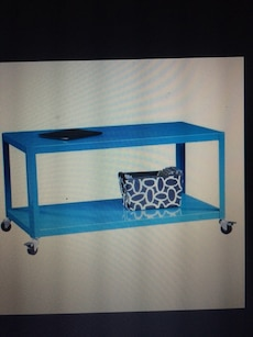 rectangular blue metal table with wheels