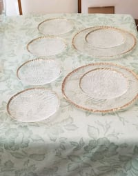 """Gold edged dessert service two 13"""" platters six 8"""" Cohoes, 12047"""