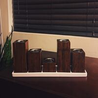 wooden tea light candle holders with ceramic plate Redondo Beach, 90278