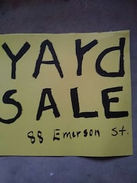 white and blue Garage Sale signage Haverhill, 01830