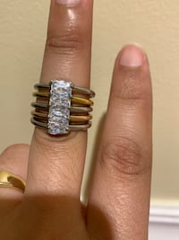Stackable Ring Stainless Steel Tricolor Baguette White Cubic Zirconia Size 7 Weymouth, 02191