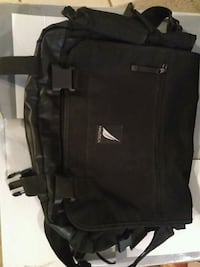 black and gray leather computer backpack Saucier, 39574
