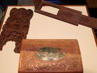 Old Hand-Carved Jewelry Box, Book End & Stand Lenhartsville, 19534