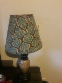 brown ceramic based desk lamp with blue and brown floral lampsahde Avondale, 70094