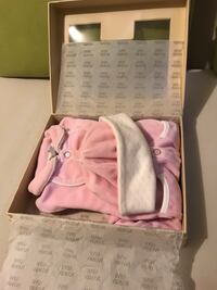 Armani baby pink sleeper with cap