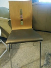 brown wooden chair with black leather pad Silver Spring, 20902