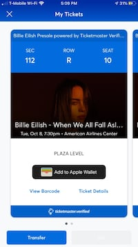 2 tickets Billie Eilish - October 8, Dallas El Paso