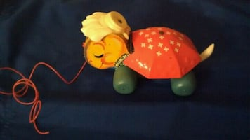 Rare Vintage FP Pull Toy--Turtle with bonnet