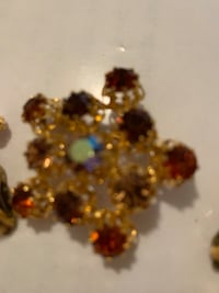 Austrian crystal brooch with matching earrings (clip)