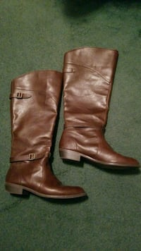 pair of brown leather knee-high boots Provo