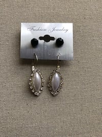 Faux pearl crystal accent earrings  Jackson, 08527