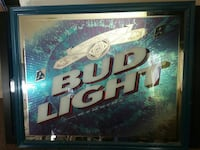 Bud Light poster with teal wooden frame