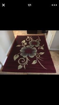 red and white floral area rug