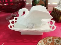 Vintage Milk Glass  Oval shaped Bowl with Swan lid Temple Hills