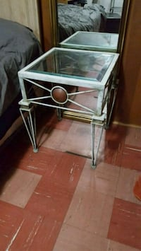 gray metal framed glass top side table Toronto, M3H