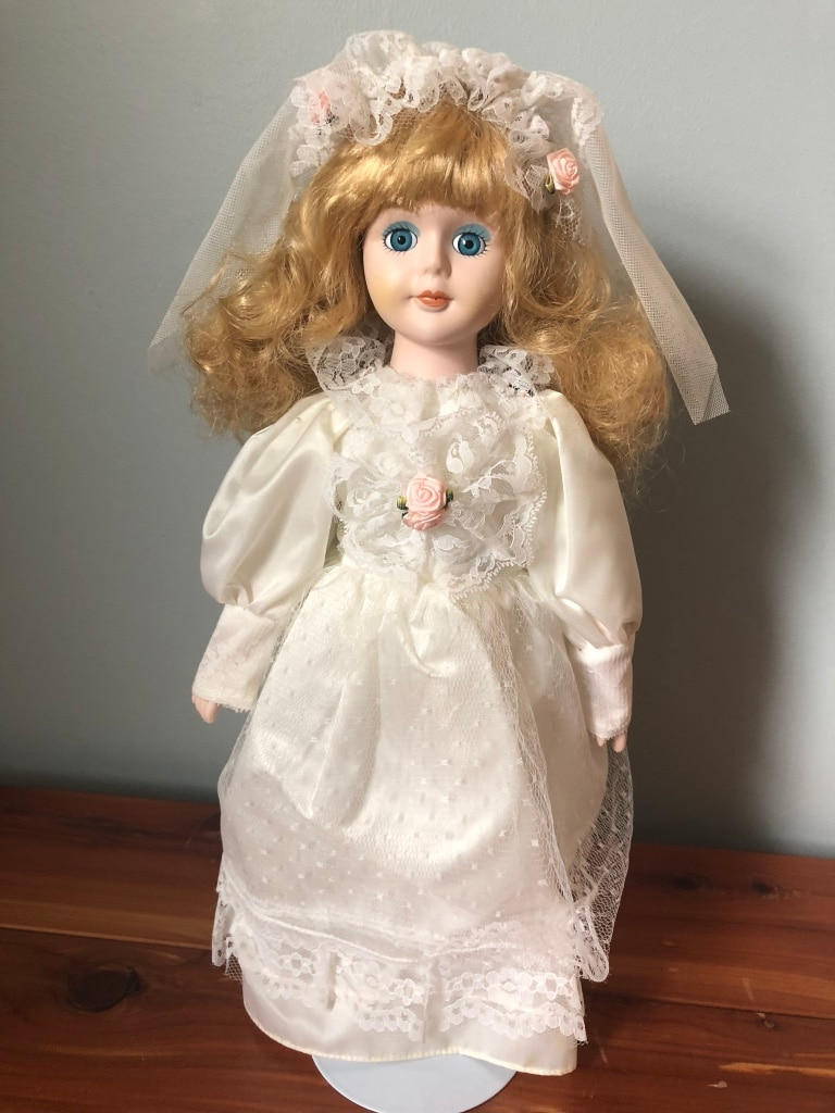 porcelain doll in white dress for sale  Cranberry Township