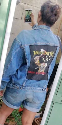 Veste jean denim vintage rock 6582 km