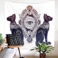 Ancient Occultism Egyptian Tapestry Vintage Egyptian Cat with Eye of God Horus Wall Hanging Tapestry, Goddess Bastet Sacred Geometry Eye Wall Hanging Tapestries GT66(#5, W:79'×H:59' Durham, 27704