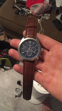 round silver and blue chronograph watch with brown leather strap Mount Airy, 21771