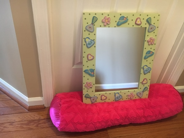 rectangular white and multicolored floral photo frame