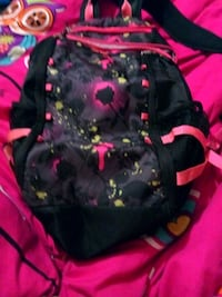 black and pink floral print backpack The Village, 73120
