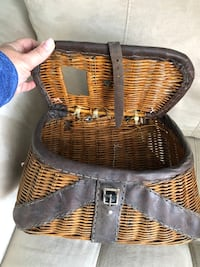 Vintage wicker and leather fishing creel Oakville, L6H 2V4