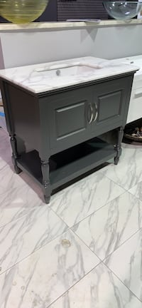 "36"" bathroom vanity single sink cabinet in gray with Carrara marble top New Fairfax, 22031"