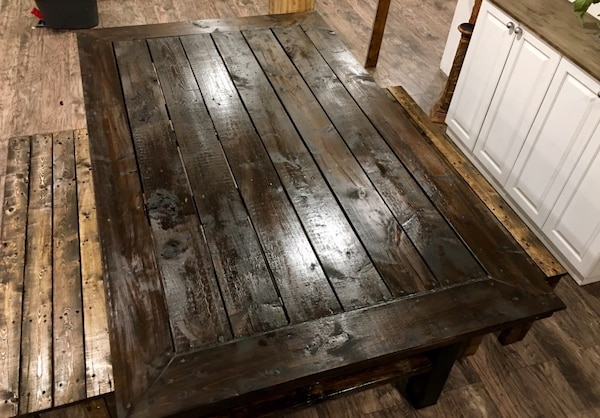 Custom made Solid wood table and 2 benches