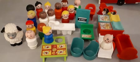 Lot Vintage Fisher Price Little People Toys Hospital  Bus
