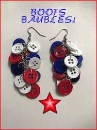 Handcrafted red, white and blue button earrings Cape Coral, 33909