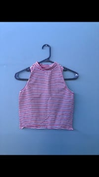 Red and white Stripped Sleeveless Crop Top  Toronto, M4E 2C6
