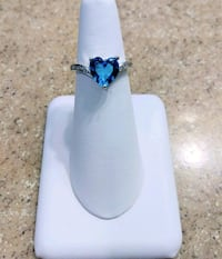 Blue Heart CZ Silver Plated Ring Beverly Hills, 34465