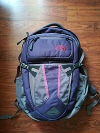 purple and gray The North Face backpack null