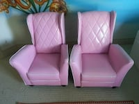 """two pink """"pleather"""" wing chairs"""