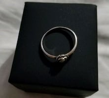 Silver moon rose ring