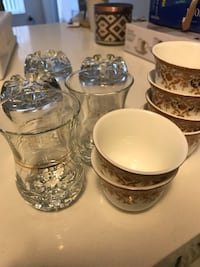 four clear glass candle holders Toronto, M4P 0B2