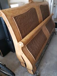King Size Wicker & Wooden Bed Frame Richmond Hill